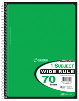 TOP FLIGHT WB70PF Series 4510816 Wide Rule Notebook, Micro-Perforated Sheet,