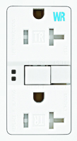 Eaton Wiring Devices TWRSGF20W Duplex GFCI Receptacle, 20 A, 2-Pole, 5-20R,