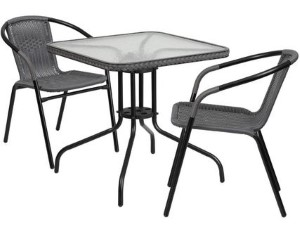 "28"" SQU GLASS TABLE/2CHAIRS GRAY"